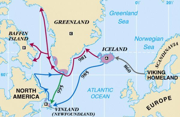 The Vikings route to Vinland